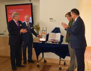 Prof Brian Schmidt; Keith Baker, Senator Kate Lundy, Dr Chris Bourke launch A Century of Canberra Engineering